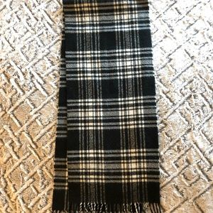 Christian Dior black and white plaid winter scarf